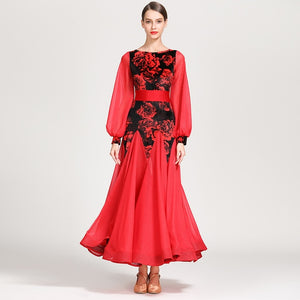 Long Ballroom Practice Dress with Floral Velvet Bodice and Lantern Chiffon Sleeves. Available in 3 Colors and Sizes S-XXL PRA053_int