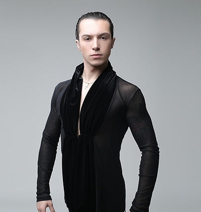 Men's Black See Through Mesh Latin Competition Or practice Shirt with Velvet Gathered Sash and Long Sleeves M015