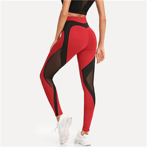 Annalise Red Contrast Leggings with Mesh Inserts  Features High Waist