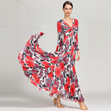Red or Gray Floral Ballroom Practice Dress with Back Cut Outs and Buttons Long Sleves. Sizes S-XXL Pra061