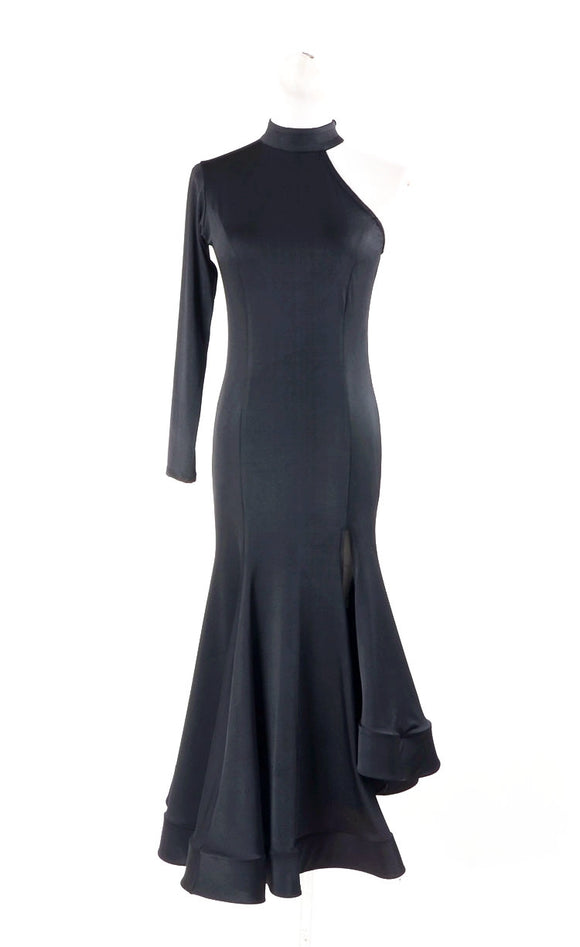 Black Latin/Rhythm Practice Dress with One Long Sleeve, Asymmetrical Skirt and Wrapped Horsehair Hem Sizes S-XXXL Pra120