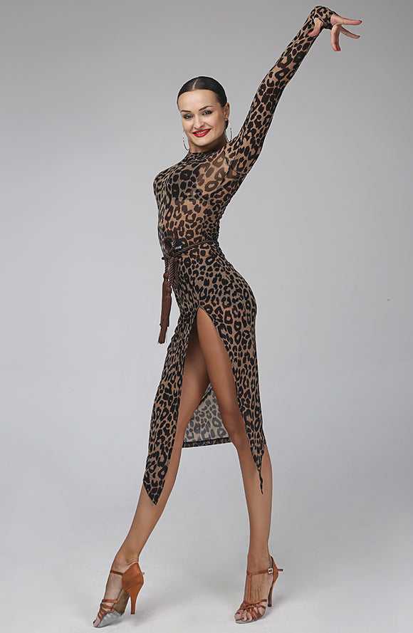 Floral or Leopard Print Mesh Latin/Rhythm Practice Dress with Long Sleeves and High Slit Pra121