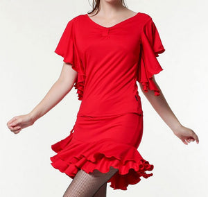 Butterfly Sleeve Ballroom/Latin Practice Top with Gathered Front Available in Multiple Colors and Sizes S-5X Pra040