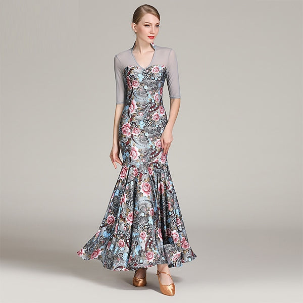 Long Half Sleeve V Neck Floral Pattern Ballroom/Smooth Dance Practice Dress Sizes S-XXL Pra058