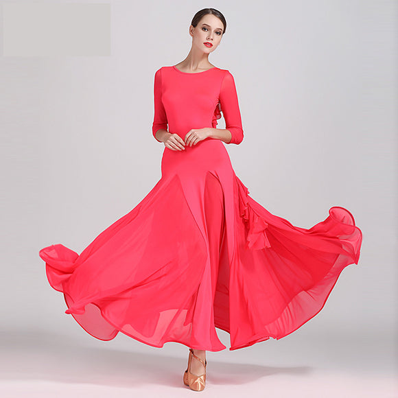 Ultra Feminine Long Ballroom, Smooth Practice Dress with 3 Quarter Sleeves and Ruffle Sash Back Detail. 3 colors sizes S-XXL Pra075