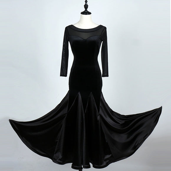 Velvet Ballroom Practice Dress with Mesh Long Sleeves and Satin Skirt Available in 3 Colors and sizes S-XXL Pra059