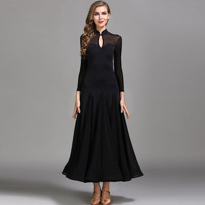 Red or Black Long Sleeve Ballroom or Smooth Ballroom Practice Dress with Petite Collar Sizes S-XXL Pra060