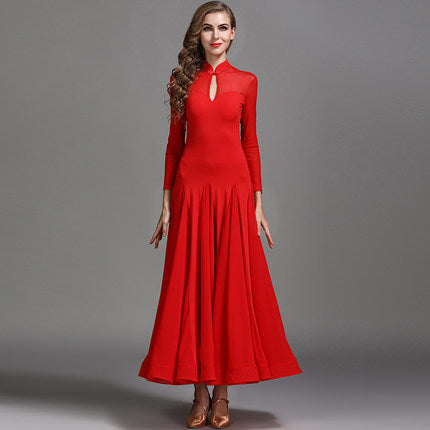 Red Long Sleeve Ballroom or Smooth Ballroom Practice Dress with Petite Collar Size 00-2 Pra060_in