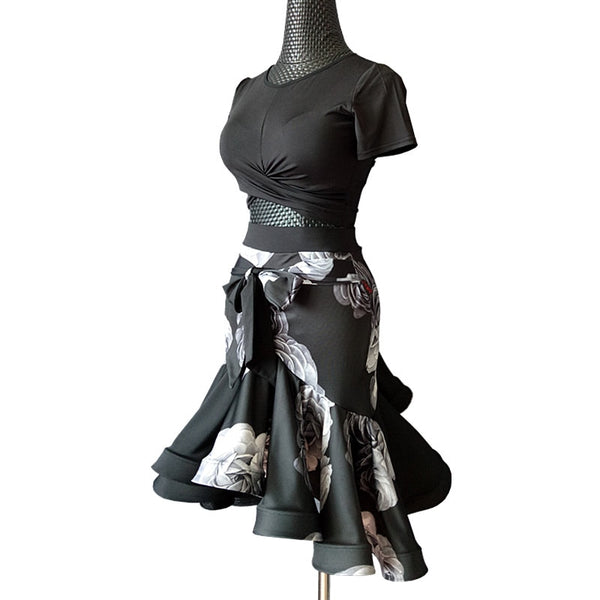 Black Latin/Rhythm Skirt with White Rose Floral Pattern and Short Mid Top with Short Sleeves Sizes S-L Pra142