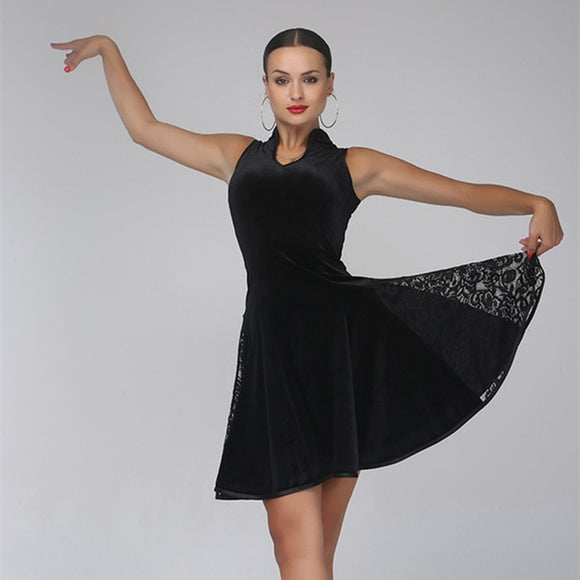Sleeveless Black Velvet Latin Practice Dress with Lace Side Gussets and Mandarin Partial Collar Available in Sizes S-XL Pra265
