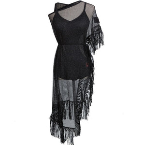 Black Latin Mesh Net Practice Dress with One Sleeve and Tassels.  Bodysuit Included Sizes S-XL Pra107