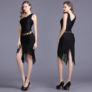 Ladies Sleeveless Latin, Rhythm Practice Dress with Fringe Skirt Colors are Red. Black Or Leopard sizes S-XXL  Pra115