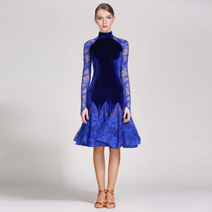 Velvet and Lace Long Sleeve Latin/Rhythm Dress with High Classy Collar Available in 3 Colors and Sizes S-XXL Pra118_in