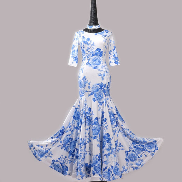 Blue and White Porcelain Rose or Spring Primrose Ballroom Practice Dress With Elbow Length Sleeves Sizes S-3XL Pra071