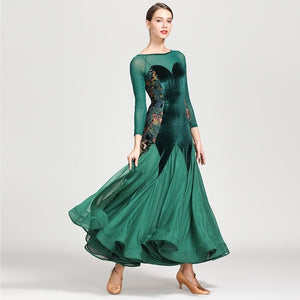 Long Ballroom Practice Dress with Floral Print Side Panels Green or Black and Sizes S-XXL Pra055