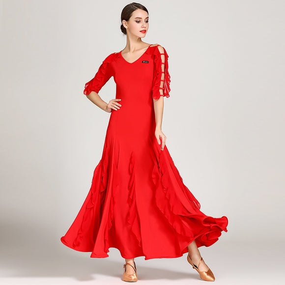Long Ballroom, American Smooth Practice Dress with V Neck and Flutter Detail on Sleeves 2 Colors and Sizes S-XXL Pra073
