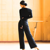 Ladies Ballroom Latin Dance Pants, Teaching or Practice Pants, with Tie Belt Trousers Pra154