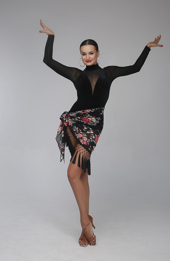Velvet and Mesh Ballroom Practice Bodysuit Top and Wrap Skirt or Scarf in Leopard, Floral or Plain Black. Sizes S-XL Pra141