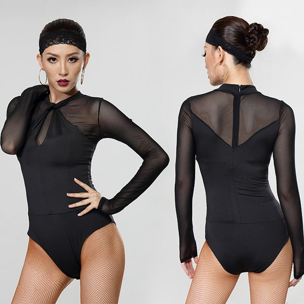 Black Ballroom or Latin Practice Bodysuit Top with Long Mesh Sleeves and Keyhole Detail Pra034_in