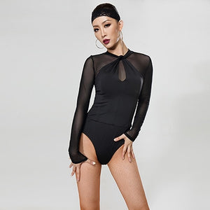 Black Ballroom or Latin Practice Bodysuit Top with Long Mesh Sleeves and Keyhole Detail Pra034