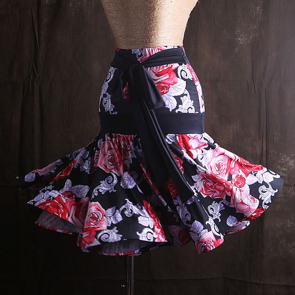 Pretty Floral Latin/Rhythm Practice Skirt with Tie Sash and Wrapped Horsehair Sizes S-XXL Pra022