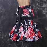 Pretty Floral Latin or Rhythm Practice Skirt with Tie Sash and Wrapped Horsehair Sizes S-XXL Pra022