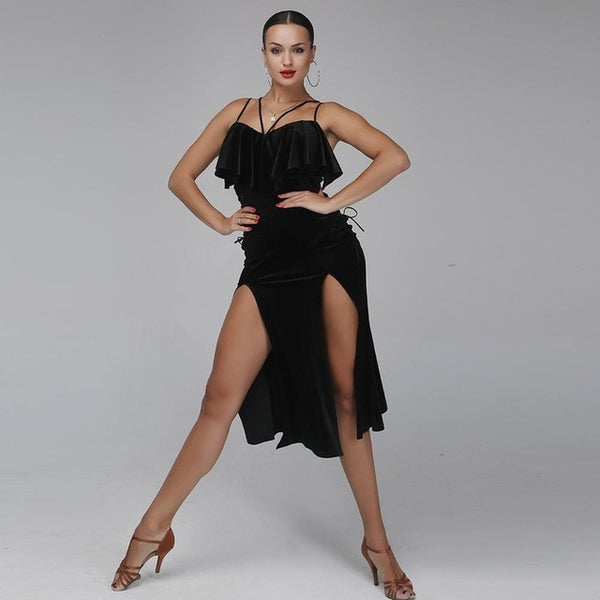 Sexy Black Velvet Latin Performance Dress with Two Slits and Ties Sizes S-XL Pra105