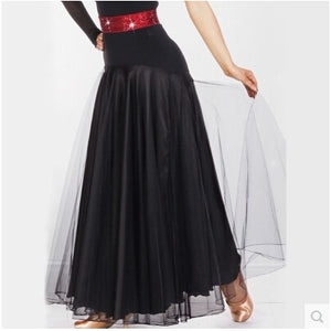 Chiffon and Satin Long Ballroom Practice Skirt.  Available in 5 Colors and Sizes S-XL Pra004