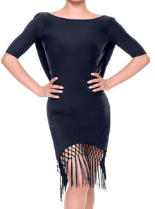 Gorgeous Tasel Fringe Latin Practice Dress with Half Sleeves and Back Sash. Sizes S-XL Pra097
