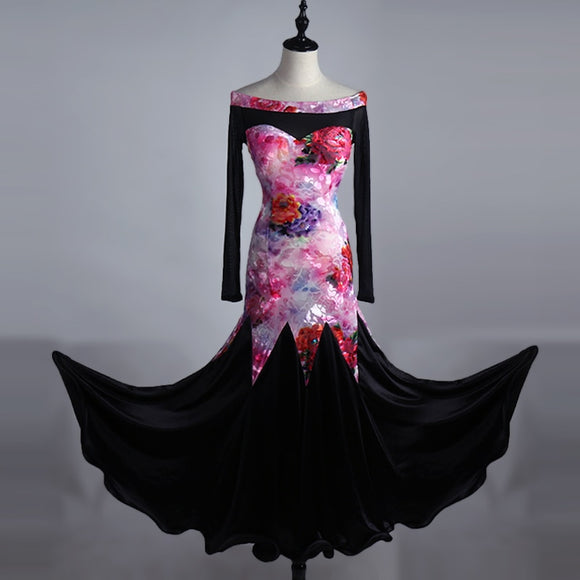 Pink Floral Burned Velvet Ballroom Practice Dress with Satin Black Skirt Sizes S-XXL Pra155