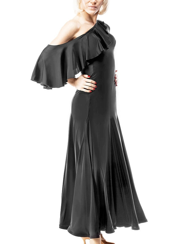 Long Black Lycra Ballroom Practice Dress with One Ruffle Sash off Shoulder Sizes S-3XL Pra051