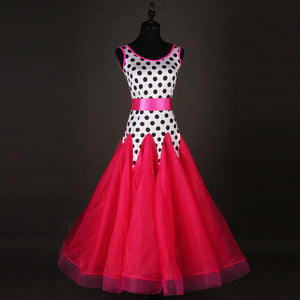 Pink, Black and White Polka Dot Ballroom or Smooth Dress with Pink Satin Belt, Available in Sizes S-XXL Pra085
