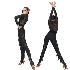 Long Black Latin or Rhythm Lace Pants with Fringe Accents Sizes S-XL for Competition or Practice PRA151