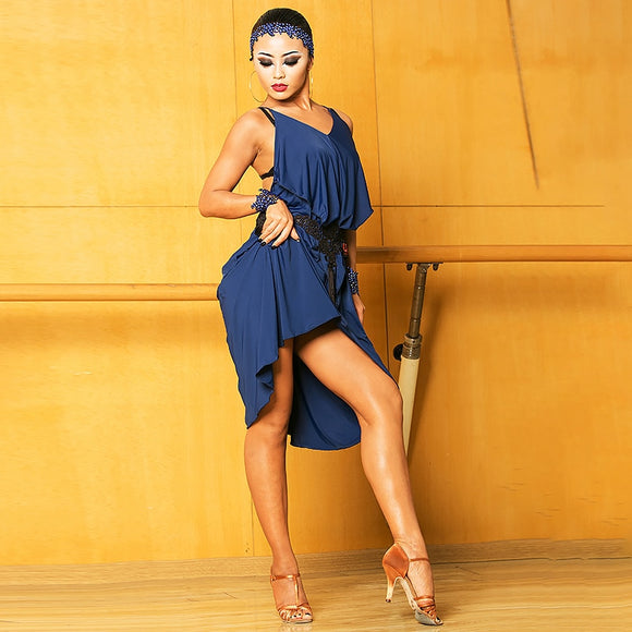 Sleeveless Loose Latin Practice Dress with Lots of Great Movement Features Blue or Print Pra161
