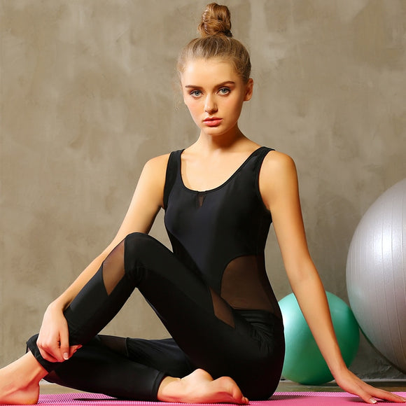 Caia Black One Piece Ankle Length Sleeveless Yoga Set with Sexy Mesh Cut Outs Unitard