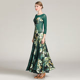 Long Floral Ballroom Practice Dress with Mesh Long Sleeves and Back. Available in 3 Colors and Sizes S-XXL Pra288