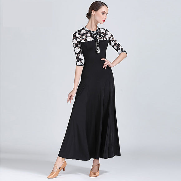 Black Long Ballroom Practice Dress with White and Black Floral Mesh Half Sleeves and Decolletage Sizes S-XXL Pra179