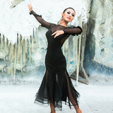 Light and Airy Black Ballroom Practice Dress with 3 D Ruffle Detail on Long Sleeves.  Sizes S-XL Pra187