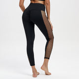 Angelina Black High Waisted Leggings With Fishnet Patchwork Side Inserts