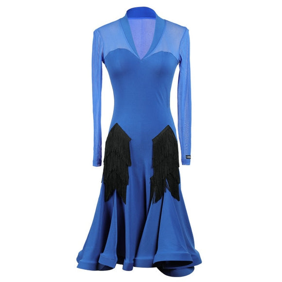 Black or Blue Latin Practice Dress with Fringe Accents and Long Mesh Sleeves Available in Sizes S-XXL Pra182