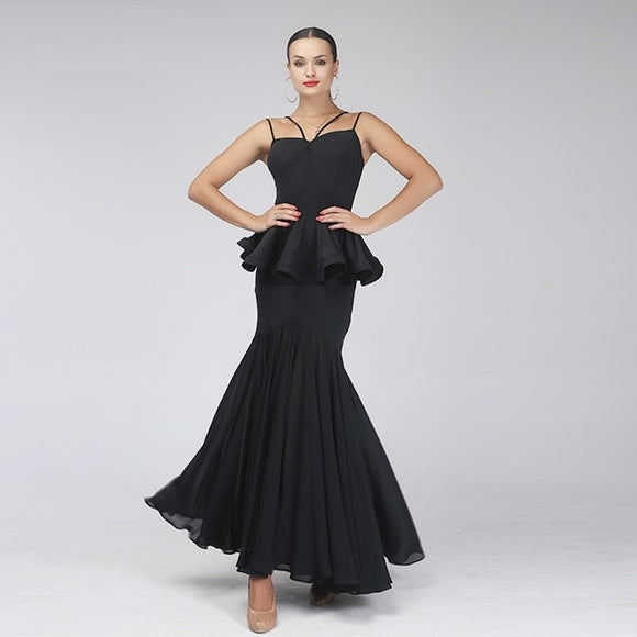 Black Ballroom Practice Dress Combination with Peplum and 2 layer Skirt Soft Hem and Double Angled Straps S-XL Pra178