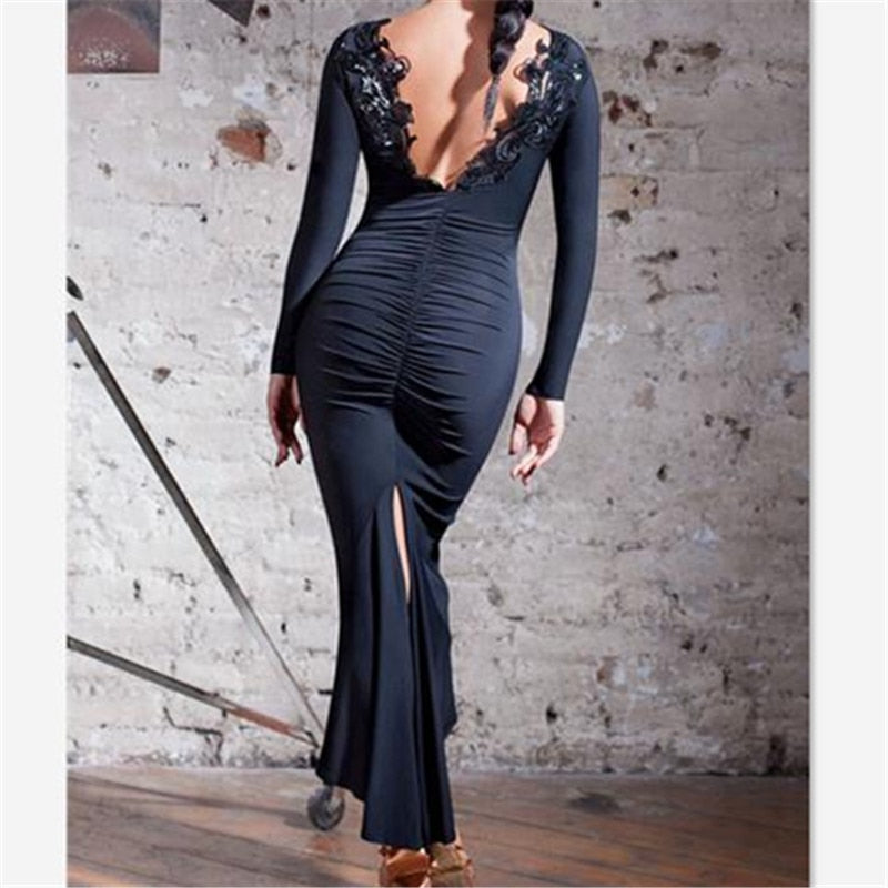 a458904d0 Sexy Black Tango Dress With Rouching and Sequin Lace Detail on Back ...