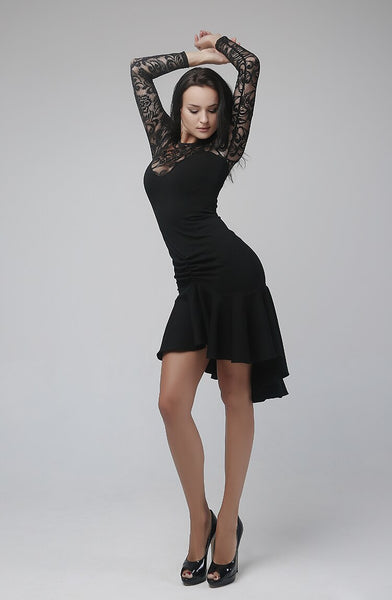 Black Floral Lace Latin Practice Dress with Long Sleeves and Asymmetrical Skirt. Available in S-L Pra252