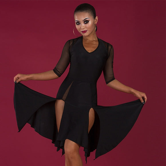 Black Latin Practice Dress with Rose Applique, Double Slit Skirt and Mesh Sleeves.  Available in Sizes S-XL Pra293