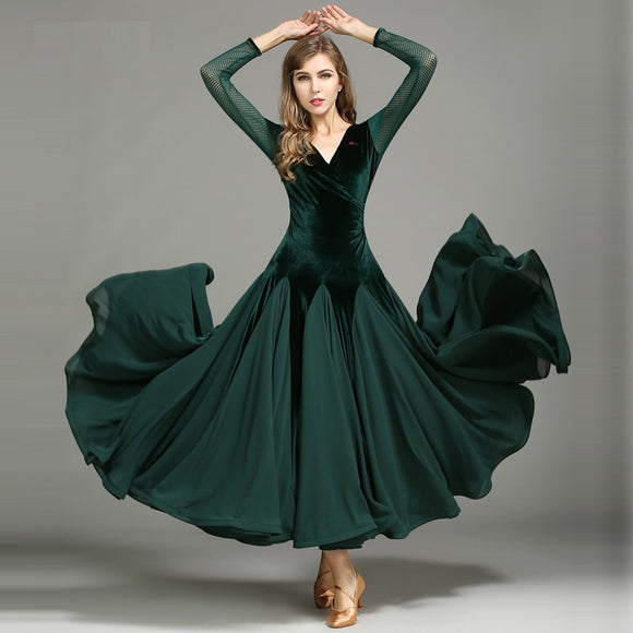 Velvet and Chiffon Long Ballroom Practice Dress with Long Mesh Sleeves and Wrapped Horsehair Hem Available in 3 Colors and sizes S-XXL Pra216