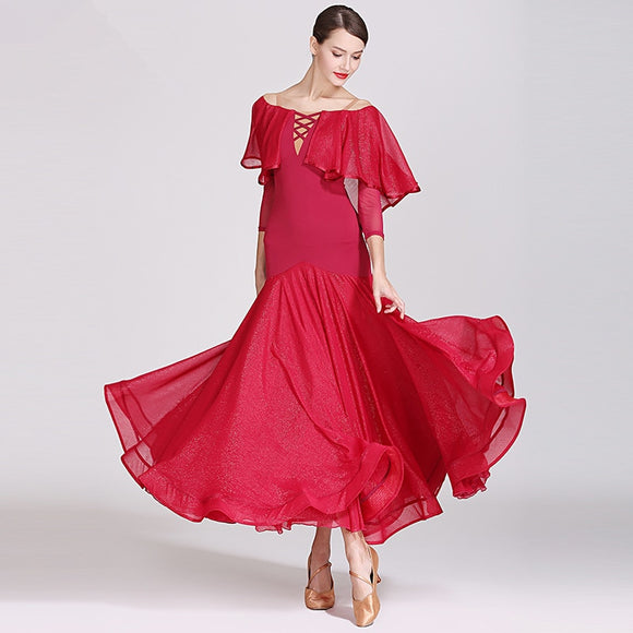 Long Ballroom Practice Dress with Off the Shoulder Shimmer Ruffle Floats and Shimmer Skirt Wrapped Horsehair. Available in 3 Colors and Sizes S-XXL Pra214