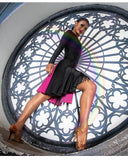 "Hot Pink and Black Color Black Latin Dress with Slits in Skirt, ""hideen fringe"" and Long Sleeves Available in sizes S-XL Pra218"