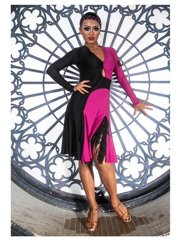 Hot Pink and Black Color Black Latin Dress with Slits in Skirt,
