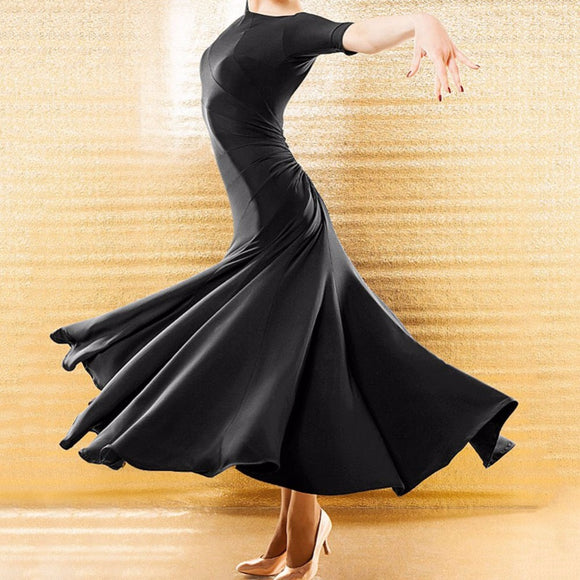 Long Black Ballroom Practice Dress with Half Length Sleeves and Soft Hem, Gather in Back with Diagonal Back Neckline. Pra467 Plus size