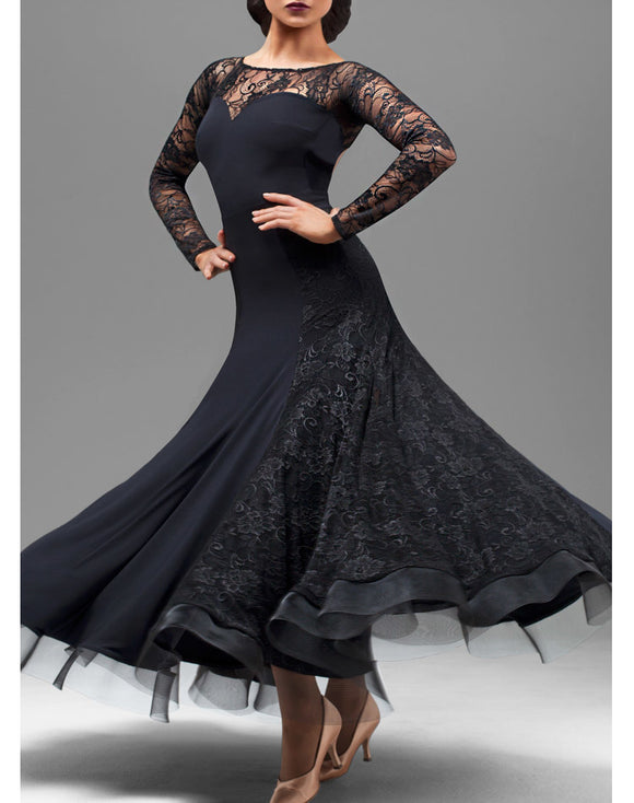Long Ballroom Practice Dress with Lace Long Sleeves and Open Back. Lace Sections in Skirt and Horsehair Hem Sizes S-4XL Pra204